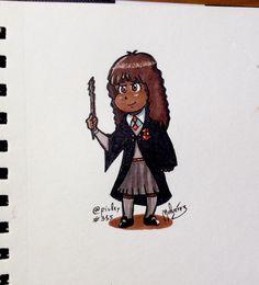 #DailySketch 355 #Hermione from #HarryPotter series  Nunca he sido un gran fan de la saga mágica aunque respeto su éxito y su capacidad de hacer que los niños volvieran a leer cuando ya se daba por perdida la pasión por la lectura. Gracias a J. K. Rowling hoy existen éxitos literarios para jóvenes como Los juegos del hambre El corredor del laberinto e incluso novelas más costumbristas como las de John Green. Esta #HermioneGranger está dibujada como homenaje a la noticia que ha salido hoy…