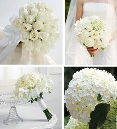 White wedding bouquets as an idea of the lovely flowers you can use.  #Weddings #WEddingFlowers
