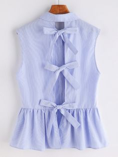 Striped Bow Tie Split Back Sleeveless Peplum Shirt