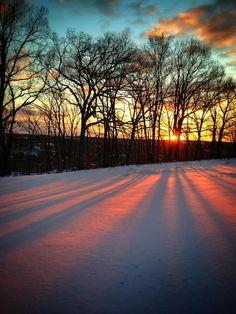 A breathtaking snowy #BucksCounty sunrise...beautiful photo taken by Vickie's Cookies.