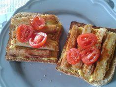 Resteverwertung bei Nicole am Abend - da gab es das Tofuschnitzel mit Tomaten auf etwas Brot