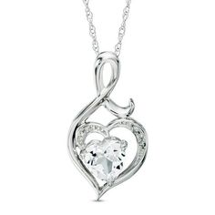 Zales Heart-Shaped Lab-Created Opal and Diamond Accent Angel Pendant in Sterling Silver and 14K Gold NOO4qVtIM6