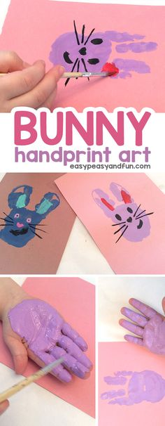 Bunny Handprint Art! A fun keepsake craft for kids to make this spring or Easter! #Bunnycrafts #BunnyArt #HandprintArt