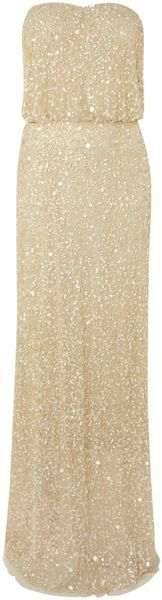 Adrianna Papell Beige Strapless All Over Beaded Dress