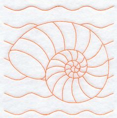 Nautilus Seashell Quilting Square (Double Run)