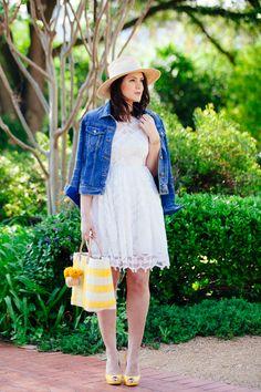 white dress / yellow accessories