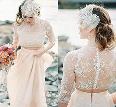 New Champagne Beach Wedding Dress Two Piece Bridal Gown Custom 4 6 8 10 12 14 16