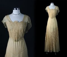 1920s 1930s Exquisite Latte Chiffon Cotton Lace Cocktail Party Dress