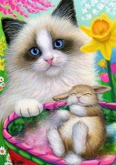 Risultati immagini per easter kittens Beautiful Cats, Animals Beautiful, Cute Animals, Crazy Cat Lady, Crazy Cats, Easter Paintings, Art Paintings, Painting Art, Easter Cats