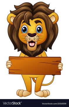 Vector illustration of Cartoon lion holding an empty wooden board Imagens - 74065096