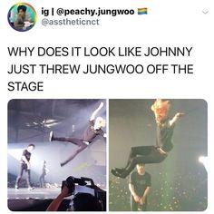 JUNGWOO FLEW 😂😂😂 #nct #memes Funny Kpop Memes, Bts Memes, Nct 127, Chanbaek, Vixx, Steven Universe, Nct Life, Johnny Seo, Jung Woo