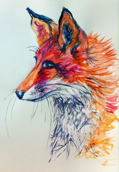 Fox Side Portrait A2 Print £35 is sold by Joanna Rose Tidey postage £8 to both Uk,USA and Canada