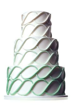 Wedding cake with green ombre swirl by Mark Joseph Cakes