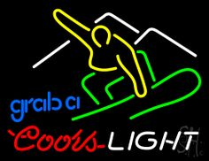 Coors Light Snowboarder Beer Neon Sign 24 Tall x 31 Wide x 3 Deep, is 100% Handcrafted with Real Glass Tube Neon Sign. !!! Made in USA !!!  Colors on the sign are White, Yellow, Green, Red and Blue. Coors Light Snowboarder Beer Neon Sign is high impact, eye catching, real glass tube neon sign. This characteristic glow can attract customers like nothing else, virtually burning your identity into the minds of potential and future customers.