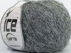 Knitted as 4 ply Fiber Content 63% Acrylic 25% Kid Mohair 12% Lurex Silver Brand Ice Yarns Grey fnt2-43933