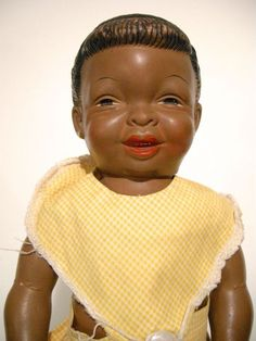 """Close-up of 13"""" rubber-vinyl Polly doll, with Fairy Skin, United States, 1957, by Horsman Doll Co."""