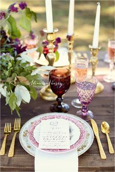 Southern Vintage tablesetting and brass candlesticks