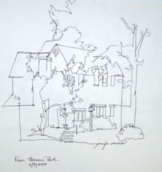 Continuous line drawing used to suggest forms without the need for intricate detail.