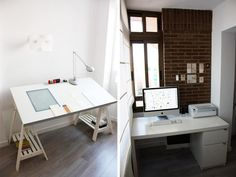 IKEA Vika Blecket tabletop employed two ways.    desk on the left will be mine. soon. #watchthisspace