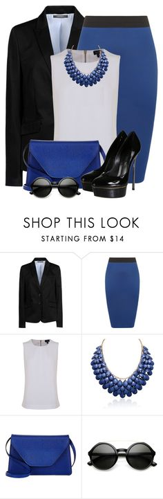 """Royal Blue Pencil Skirt"" by brendariley-1 ❤ liked on Polyvore featuring ESPRIT, WearAll, Armani Jeans, Adoriana, Valextra, ZeroUV and Casadei"