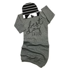 This listing is for a super soft and stretchy Hello World gown for a little boy! Matching hat can be purchased in the drop down of the listing. This gown is size 3 (fits like 0-3) months. Gray gown wi