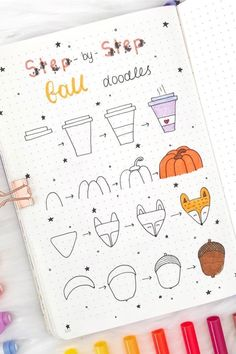 Best Bullet Journal Doodle Ideas For Halloween & Fall 2019 - Crazy Laura Starting your fall theme and need some deocration ideas? Check out these Fall and Halloween step by step bullet journal doodle tutorials for inspiration! Autumn Bullet Journal, Bullet Journal Writing, Bullet Journal Ideas Pages, Bullet Journal Inspiration, Bullet Journals, Doodle Drawings, Doodle Art, Easy Drawings, Halloween Doodle