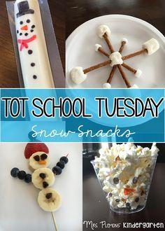 Tot School Tuesday: SNOW snack ideas for your toddler or preschooler {from Mrs. Tot School, School Fun, School Parties, Sunday School, School Stuff, Preschool Snacks, Preschool Crafts, Kids Crafts, Everything Preschool