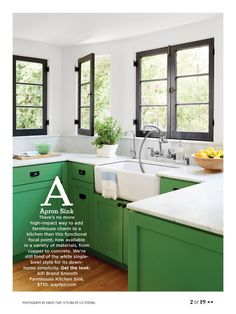 There's no more high-impact way to add farmhouse charm to a kitchen than this apron sink focal point, now available in a variety of materials, from copper to concrete. We're still fond of the white single-bowl style for its down-home simplicity. Green Kitchen Decor, Green Kitchen Cabinets, New Kitchen, Kitchen Dining, Kitchen Sink, Kelly Green Kitchen, Kitchen Windows, Kitchen Country, Home Renovation