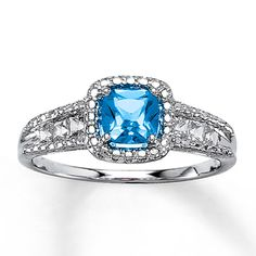 Blue Topaz Ring Lab-Created Sapphires Sterling Silver