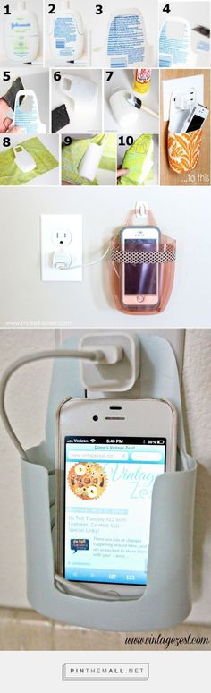 Repurpose an empty lotion container into a cell phone holder while charging. 2nd Pic: http://www.makeit-loveit.com/2015/06/charging-cell-phone-holder-from-a-plastic-bottle.html 3rd pic: http://www.vintagezest.com/2014/05/cell-phone-charger-holder-upcycled-from.html #CellPhoneHolder