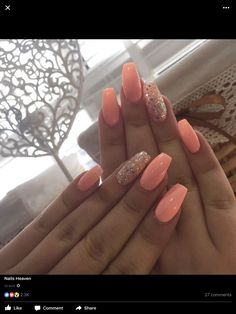 How to choose your fake nails? - My Nails Peach Acrylic Nails, Peach Nails, Summer Acrylic Nails, Cute Acrylic Nails, Acrylic Nail Designs, Pink Nails, Cute Nails, Pretty Nails, My Nails