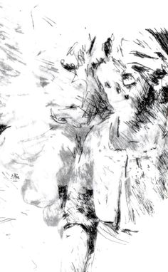 Detail of an angel in a cemetery (reverse scan) - drawn with pen on layers of tracing paper