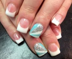 I like these! I wouldn't have the white tips though. I would color the whole nail blue or white.