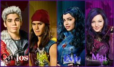 Carlos the son of cruella de vill Mal daughter of maleficent jay the son of Jafar Evie the daughter of the evil queen