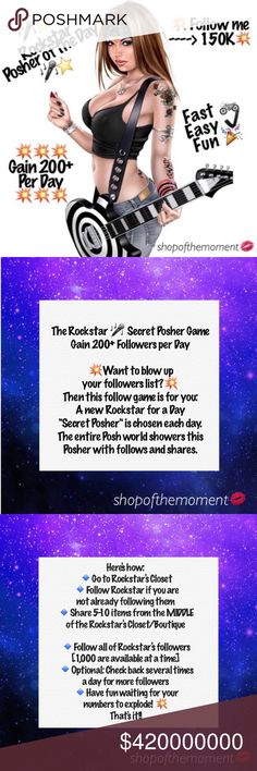 🎤⭐️ Rockstar 🎤⭐️ Super Posher 💥 Gain 1000's 💥 Read the Slides above to learn how to play It's  🔹easy 🔹fun 🔹going to increase your followers + sales 🔹the best 10 minutes you'll spend on Poshmark every day   Make sure to:  🔺follow me here  🔺follow me on Instagram  for a chance to be the Rockstar for a Day! 🎤 🔺like this listing for updates  🔺play all of the Super Posher games for best results   Smooches, Ɖ 💋 Տհօթօƒեհҽʍօʍҽղե🎤⭐️ Rockstar Super Posher of the Day Jeans Skinny
