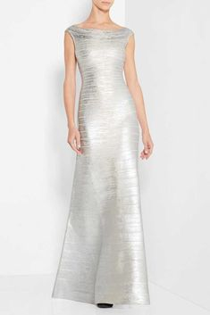 8d8f0bb9754b Herve Leger Silver Metallic Foil Mermaid Gown Bandage Dresses, White Bandage  Dress, Bodycon Dress