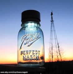 Mason Jars Solar Lights 4 Outdoor Mason Jar Lighting Antique Blue Ball Jars Garden Outdoor Lights ORIGINAL Solar Jar Design by treasureagain.---I think I may need some of these!