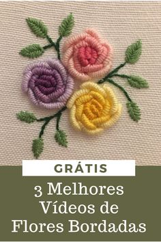 Diy Embroidery Patterns, Embroidery Hoop Crafts, Embroidery Stitches Tutorial, Hand Work Embroidery, Flower Embroidery Designs, Beaded Embroidery, Fabric Flower Tutorial, Brazilian Embroidery, Couture