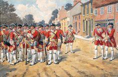 3rd (Kent) Regiment of Foot, 'The Buffs', 1751. Watercolour by Simkin