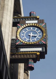 """Art Deco Clock: Daily Telegraph Building, Fleet Street.  """"Originally this beautiful clock would have had Daily in the top white rectangle and Telegraph in the lower one. The building is now owned by Goldman Sachs International."""" http://manchesterhistory.net/architecture/1920/telegraph.html"""