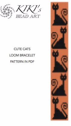 Bead Loom pattern Cute cats LOOM bracelet cuff by KikisBeadArts