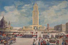"""So stellte sich die DDR-Führung das Regierungshochhaus vor. Das Bild stammt vermutlich aus dem Jahr 1957. Weitere historische Bilder sind im Buch """"Berlin und seine Bauten"""" des Berliner Architekten- und Ingenieur-Vereins zu sehen."""