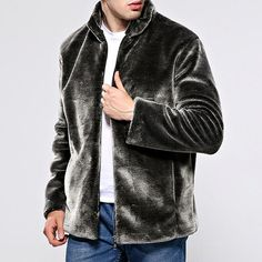 ade324f30d7 Mens Faux Fur Coat Winter Warm Slim Fit Stand Collar Casual Jacket is  fashion