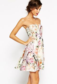 Brides.com: . Notch bandeau floral mini dress, $109, ASOS