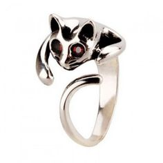 Cute 3D Cat Silver Animal Ring for only $33.99 ,cheap Fashion Rings - JewelryAccessories online shopping,Ambiguous Cat Cute Animal Ring Lazy posture, strange eyes, in the moonlight,look like leopard .