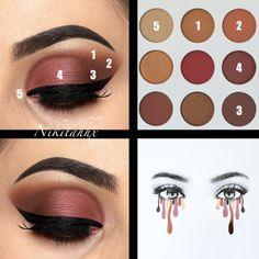 eyeshadow looks Kylie Cosmetics Burgundy Eyeshadow Palette Make Up Palette, Skin Makeup, Eyeshadow Makeup, Eyeliner, Makeup Box, Makeup Brushes, Kylie Jenner Burgundy Palette, Paleta Kylie, Kylie Eyeshadow Palette