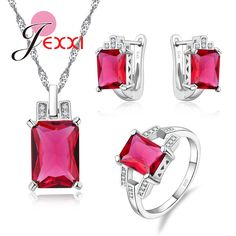 JEXXI Big Cubic Zircon Red Rectangle Crystal Jewelry Set Fashion Woman Gift 925 Stamp Silver Necklace + Hoop Earrings + Ring