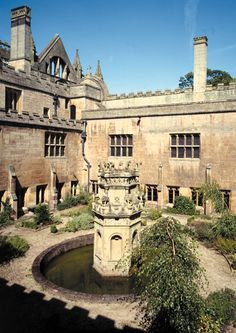 12th century Newstead Abbey Cloister, Nottinghamshire, England. Ancestral home of Lord Byron