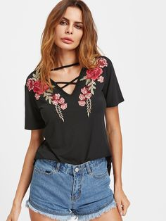 1f0fe47d2614f3 Shop Crisscross V Neck Rose Patch Tee online. ROMWE offers Crisscross V Neck  Rose Patch Tee   more to fit your fashionable needs.