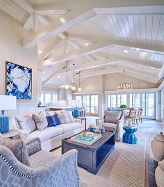 Bright white and blue beach house living room #beachhouse #coastaldecor #beachdecor Living Room Decor Beach, Coastal Living Rooms, Beach House Decor, Home Living Room, Living Room Furniture, Beach House Furniture, Home Decor, Coastal Cottage, Coastal Homes
